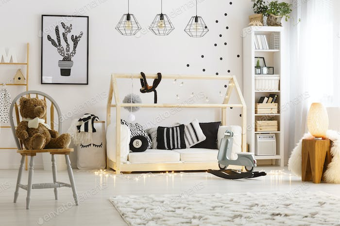 Bright child bedroom with lamps