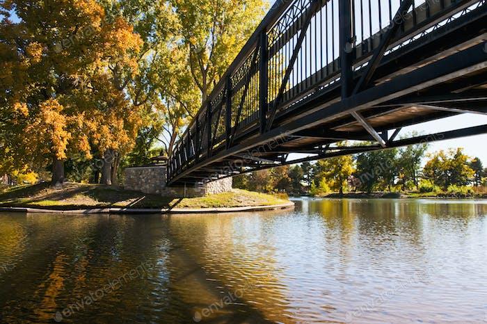 Bridge over tranquil lake