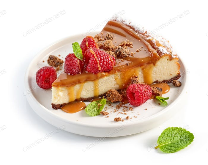 piece of caramel cheesecake