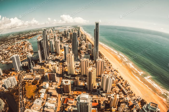 Aerial view of Surfers Paradise on the Gold Coast, Australia