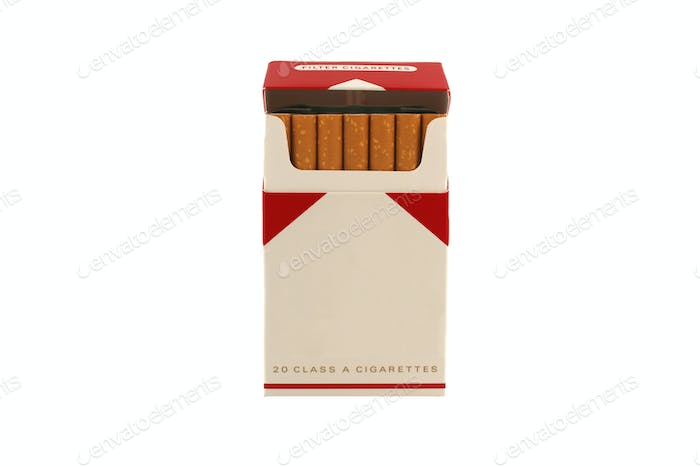Isolated Pack of Cigarettes on a white background