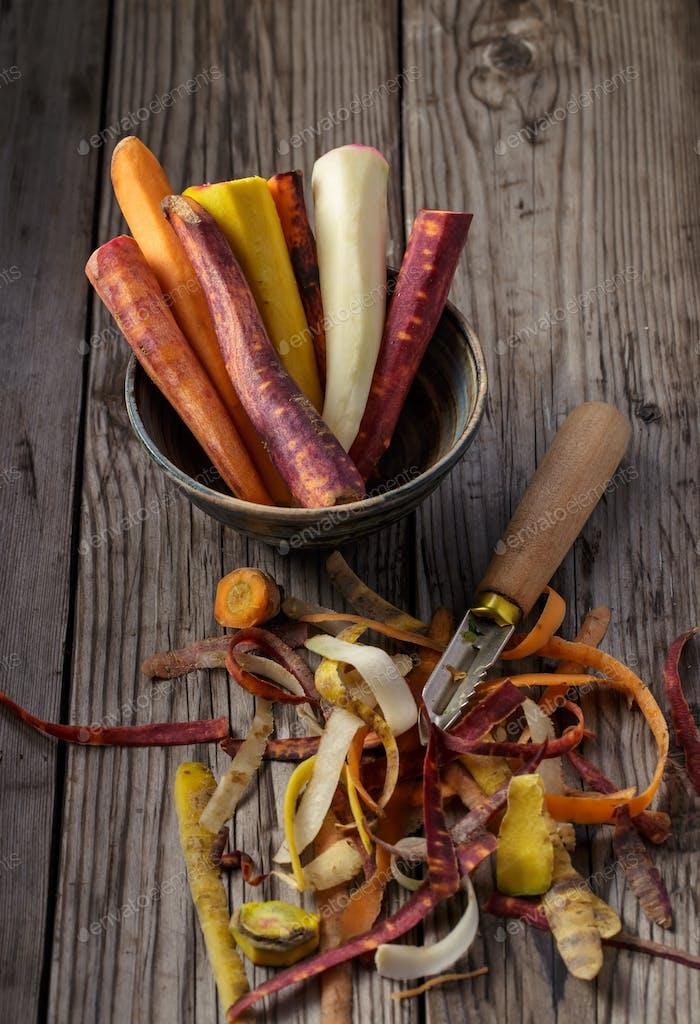 Multicolored peeled carrots