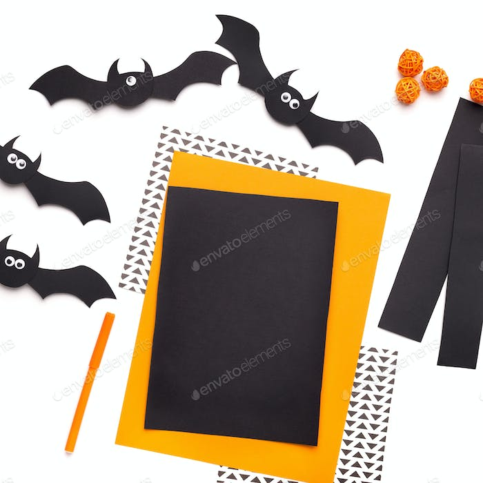 Colored sheet of papers for origami silhouettes cutting on white