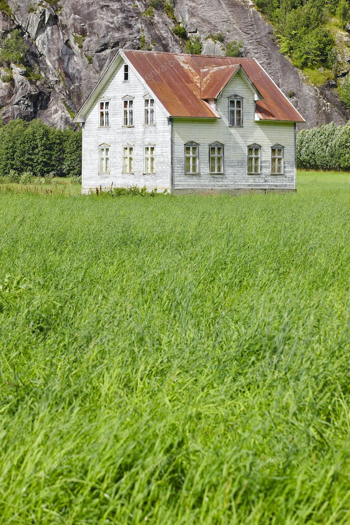 Norwegian antique traditional wooden house with grass and mountain. Vertical