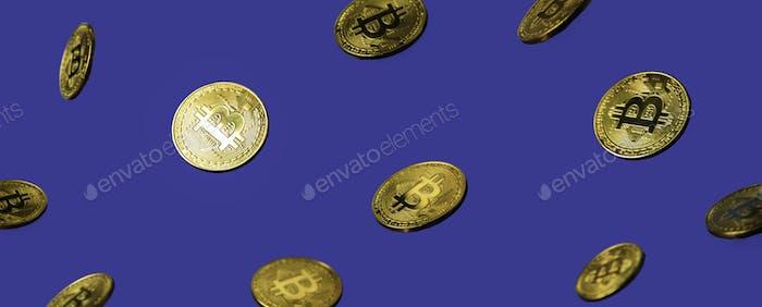 Bitcoins levitation on blue