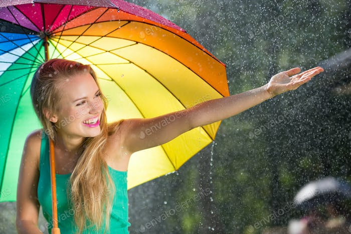 Girl with rainbow umbrella