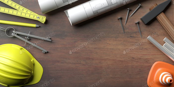 Construction drawings and tools on site office desk. 3d illustration