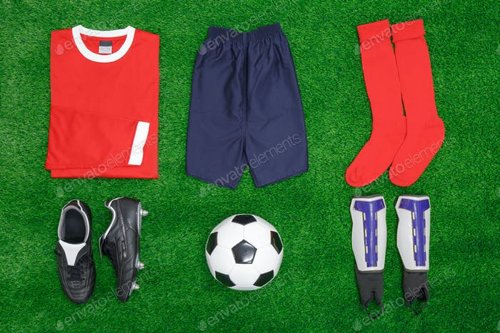 Football Soccer flat lay