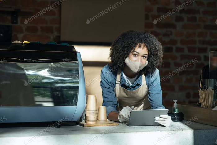 Online ordering drink and barista work during social distancing and covid-19 pandemic