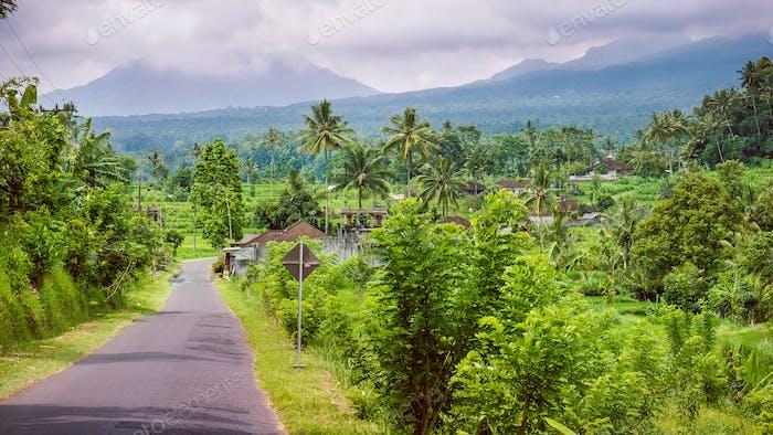 Rural road in Sediment District, Bali Island, Indonesia