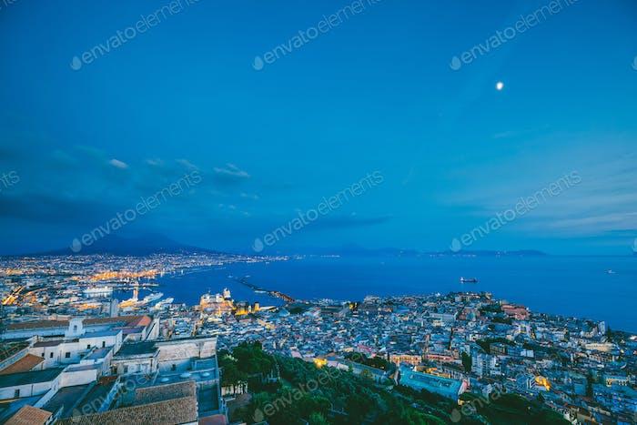 Naples, Italy. Skyline Cityscape In Evening Lighting. Tyrrhenian