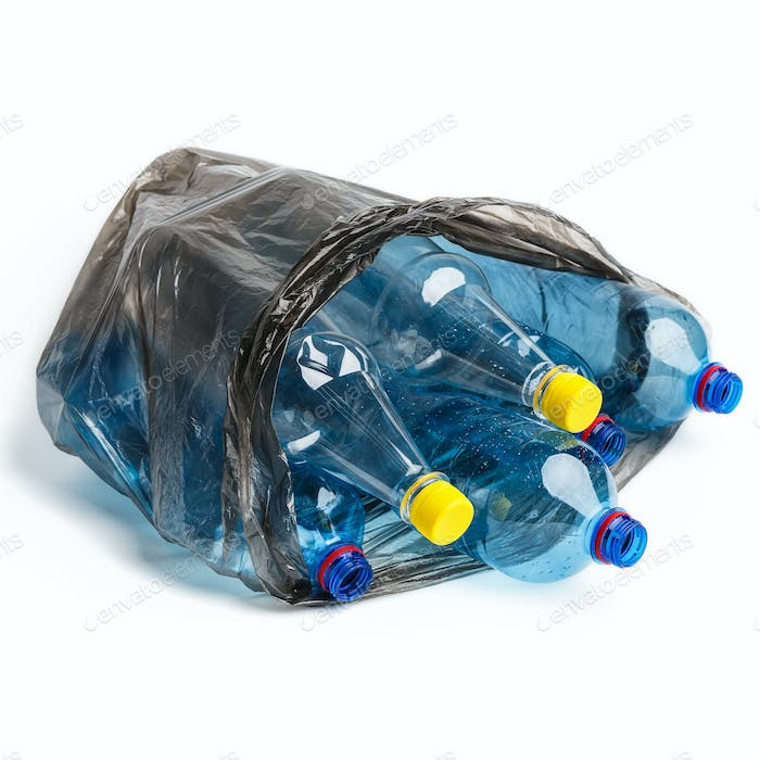 Garbage bag full of bottles