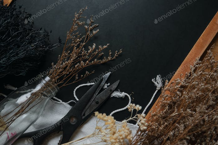 Dried flower and tools for craft