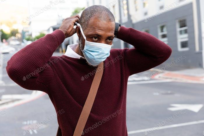 African American wearing covid19 coronavirus mask