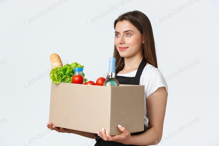 Mitarbeiter, Lieferung und Online-Bestellungen, Lebensmittelgeschäfte Konzept. Profil von nice cute verkäuferin