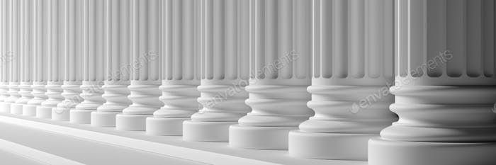 Classical pillars white color marble. 3d illustration