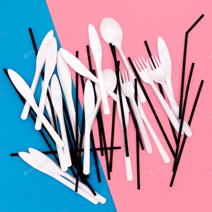 Plastic tableware. Minimal art