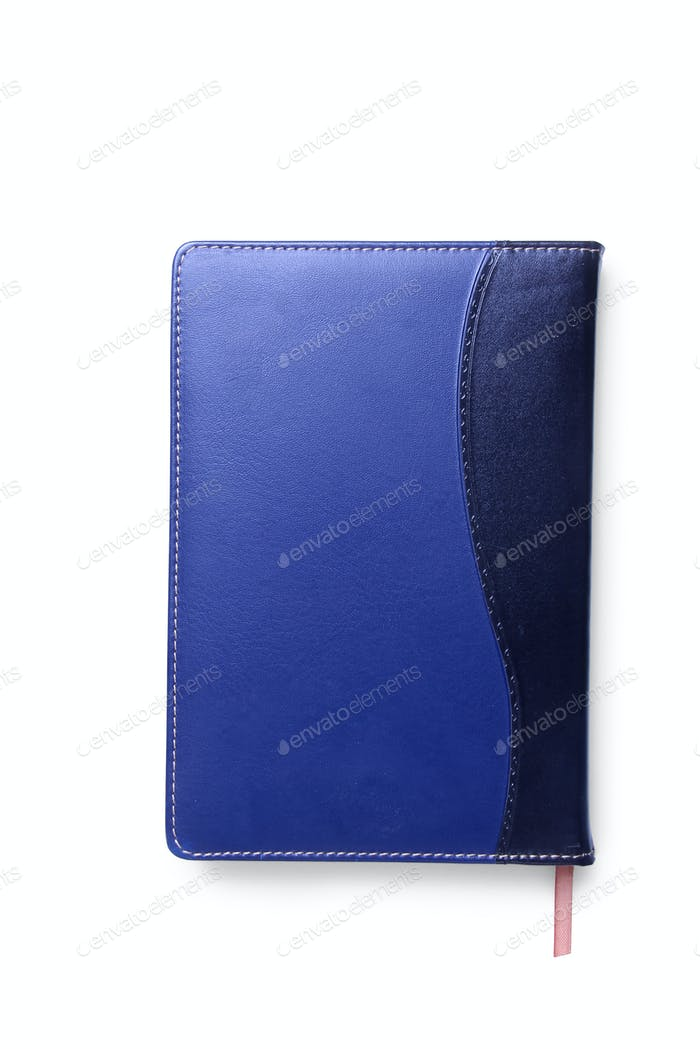 Blue Leather Agenda Isolated.