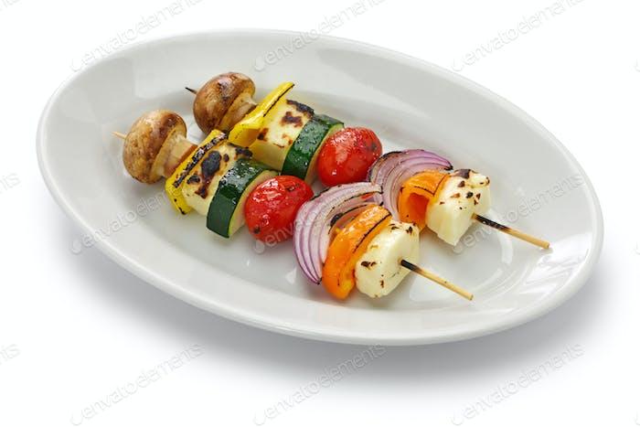 halloumi cheese vegetables skewers kebab ingredients, healthy vegetarian dish