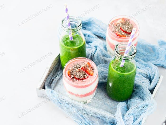 Healthy food concept green smoothie yogurt fruit chia breakfast