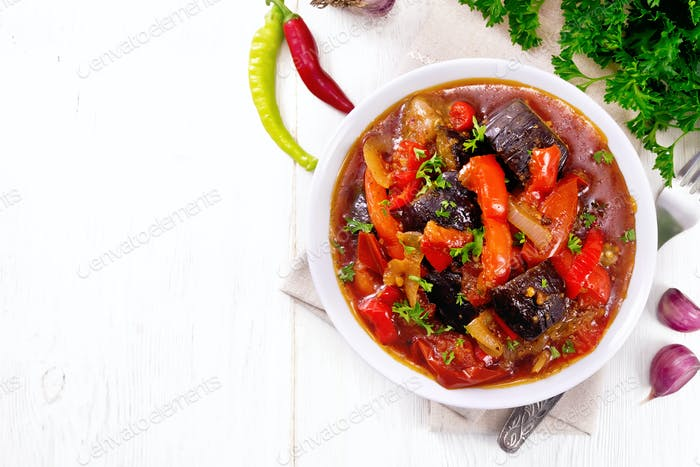 Ragout vegetable with eggplant on board top