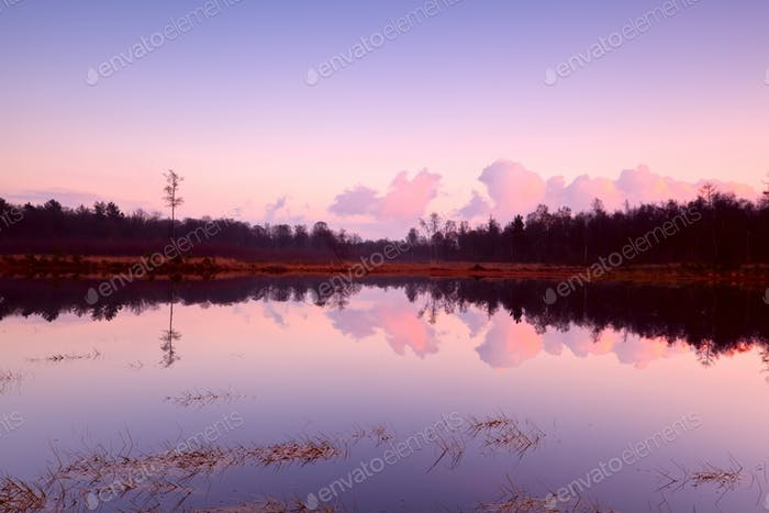 calm sunset over lake in Dwingelderveld