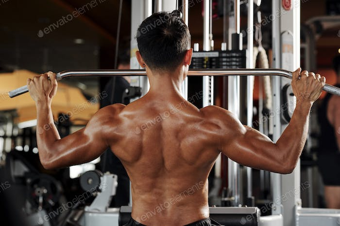 Man working on back muscles