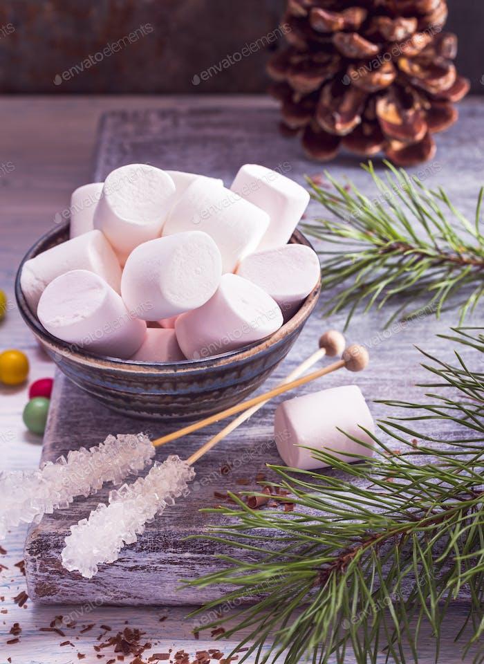 Marshmallow and sugar sticks