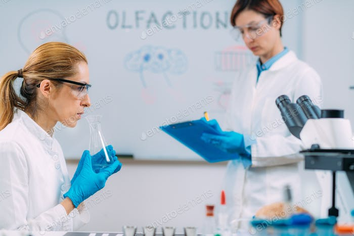 Olfaction. Female Scientist Examining Smell.