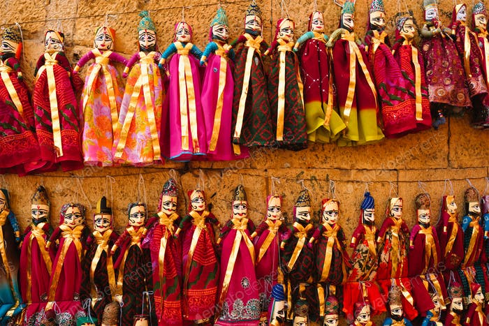 Traditional Rajasthani puppets for sale in Jaisalmer, Rajasthan, India