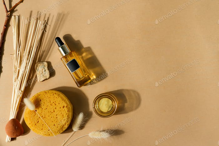 Cosmetic spa set - natural ingredients, bottle and sponge