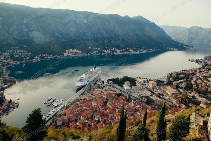 cruise ship in Kotor Bay  Montenegro