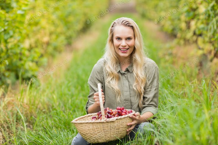 Portrait of a blonde winegrower holding a red grapes basket