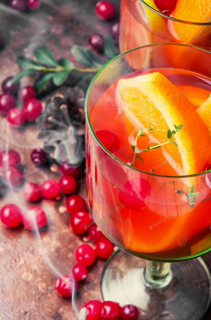 Refreshing sangria with fruits