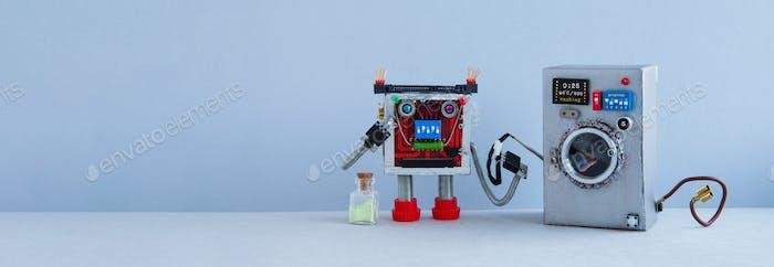 Robotic automation laundry service concept.