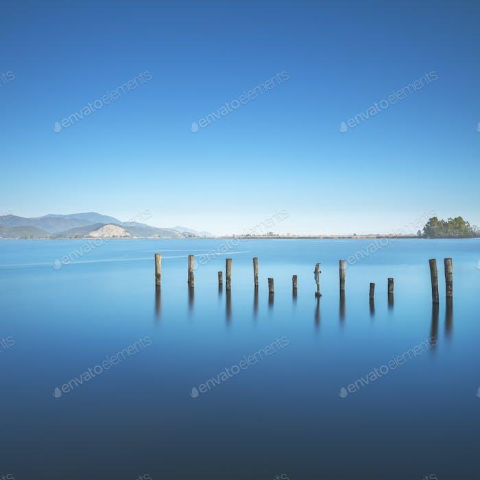 Hölzerne Pier oder Steg bleibt am See Massaciuccoli. Versilia Toskana, Italien