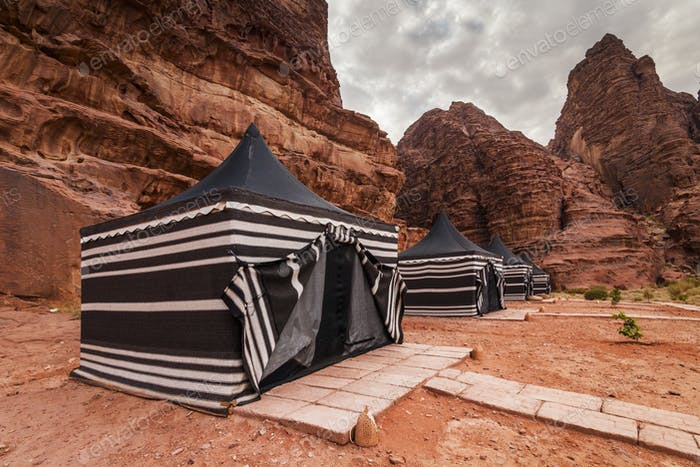 Tourist tents in Wadi Rum dessert. Jordan.
