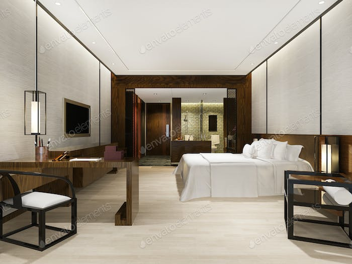 3d rendering luxury modern bedroom suite in hotel with asian style decor