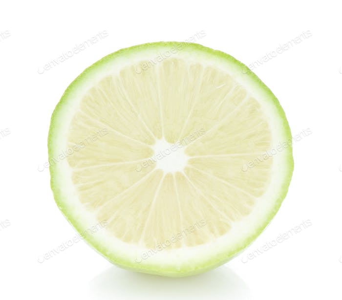 Lime green sliced on white background.