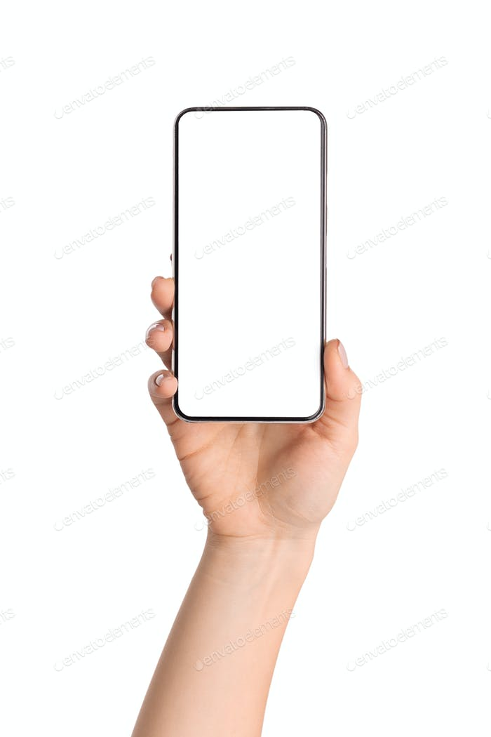 Female hand holding smartphone with blank screen over white background