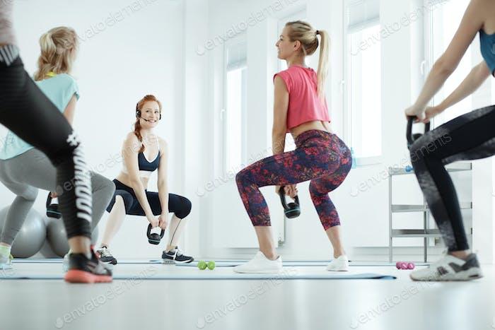 Women during butt workout