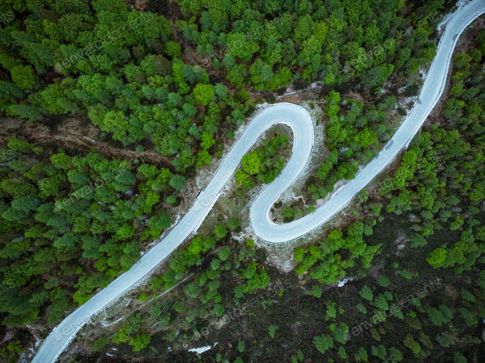 Curved road trough forest , birds eye drone aerial view