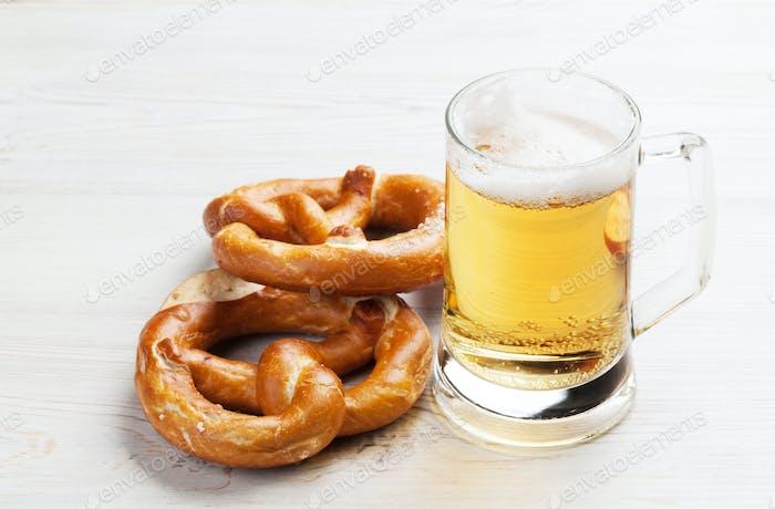 Lager beer and pretzel