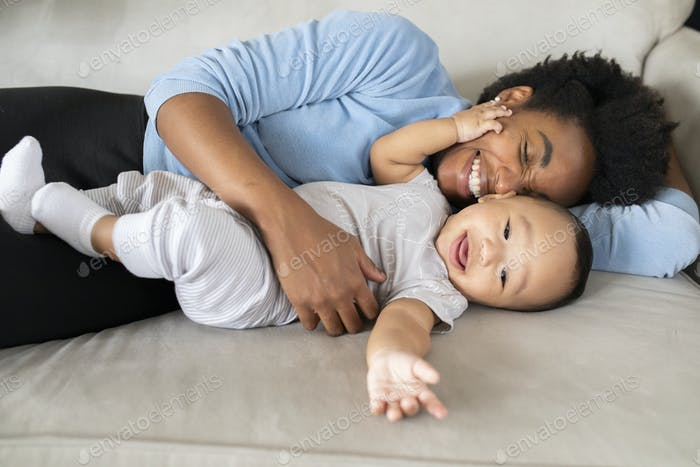 Happy multiethnic family spending time together in the new normal