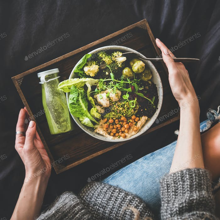 Healthy vegan bowl, smoothie and woman in jeans, square crop