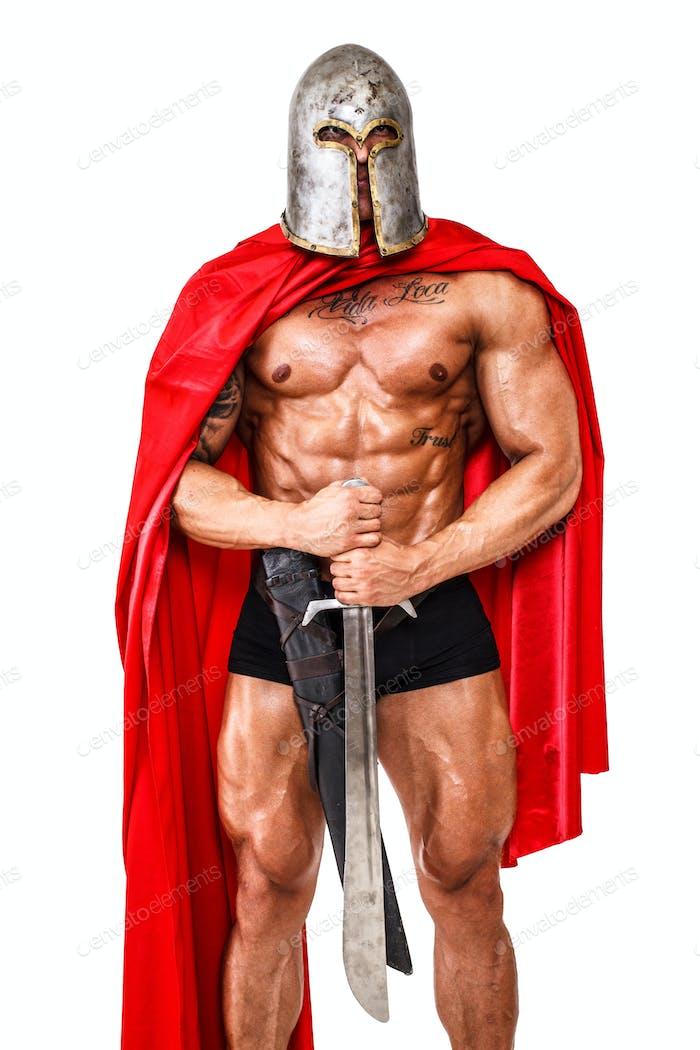 Guard in Helm und Seidenmantel