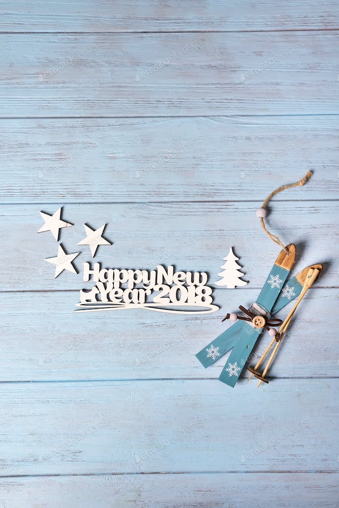 Happy 2018 New Year card with blue skiing