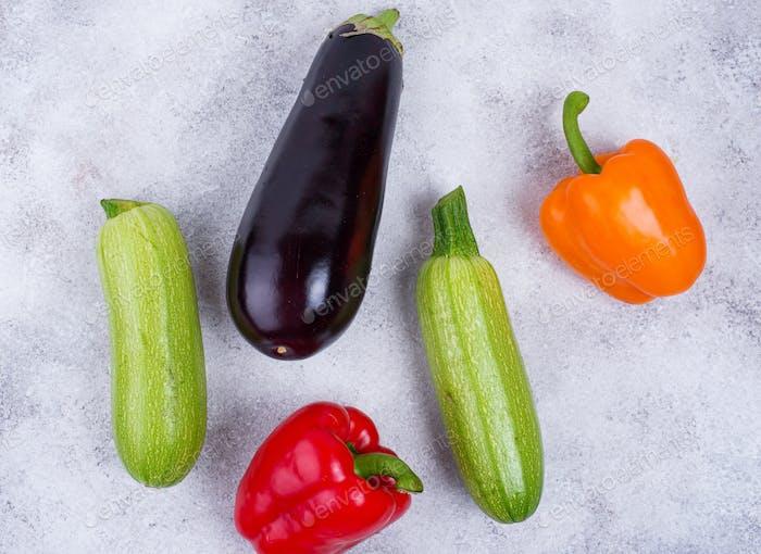 Eggplant, zucchini and bell pepper