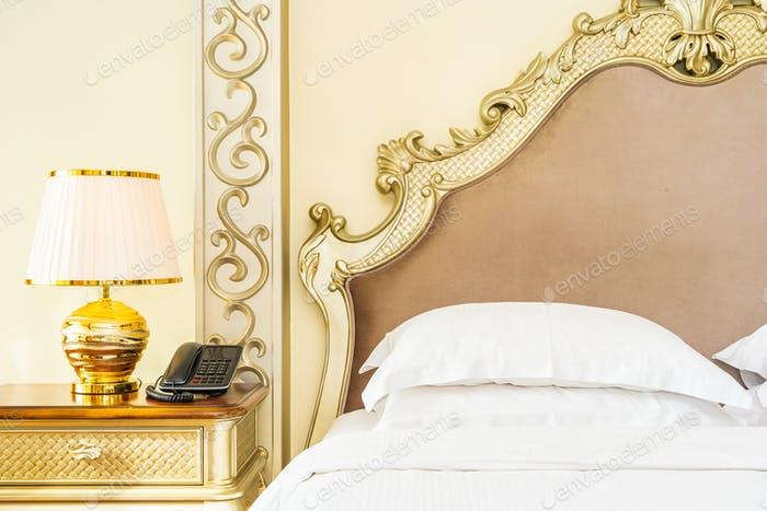 Beautiful luxury comfortable white pillow on bed decoration in b
