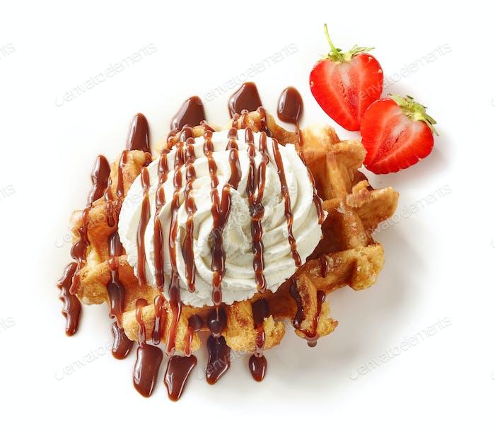 belgian waffle on white background